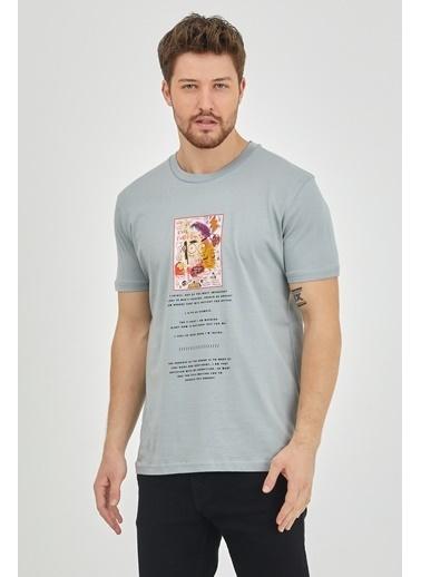XHAN Gri Baskılı T-Shirt 1Kxe1-44623-03 Gri